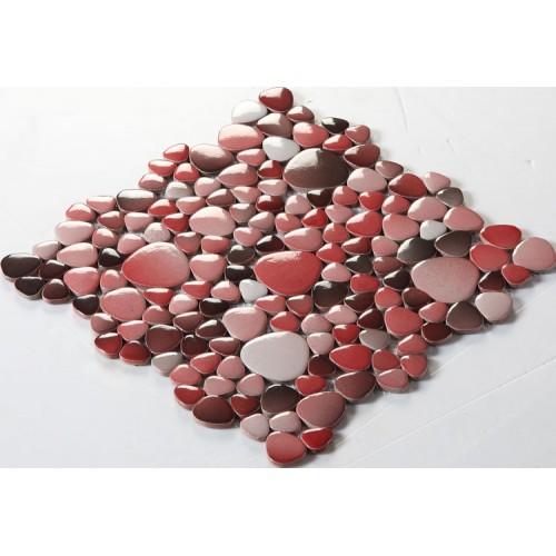 glazed porcelain pebble tile fambe kitchen backsplash cheap red and black ceramic mosaic sheets FS1711 bathroom floor designs shower wall coverings tiles
