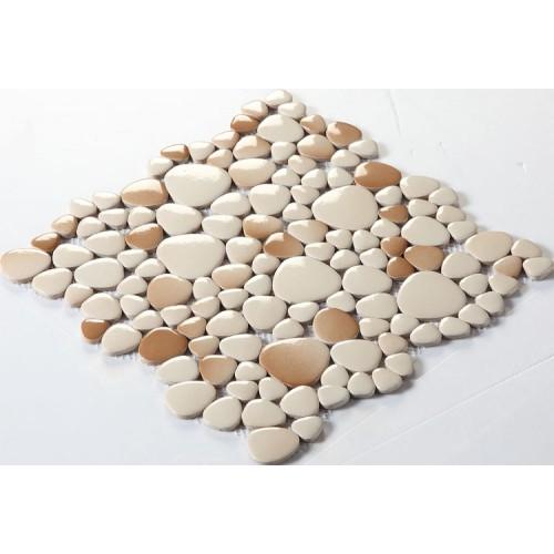 pebble porcelain tile swimming pool outdoor flooring glazed ceramic mosaic fambe heart-shaped free stone chips FS1712 kitchen backsplash bath wall tiles