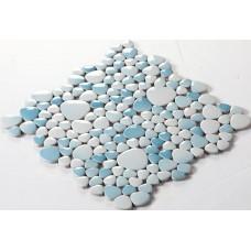 glazed porcelain pebble tile fambe kitchen backsplash cheap bathroom floor designs shower wall coverings tiles FS1718 blue and gray ceramic mosaics sheets