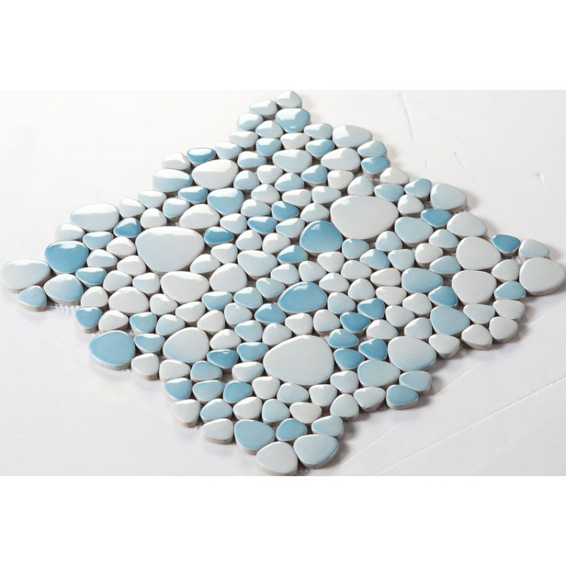 Glazed Porcelain Pebble Tile Fambe Kitchen Backsplash Cheap Bathroom Floor  Designs Shower Wall Coverings Tiles FS1718 Blue ...