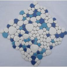 glazed porcelain pebble tile fambe kitchen backsplash cheap bathroom floor designs shower wall coverings tiles FS1719 blue and white ceramic mosaics sheets