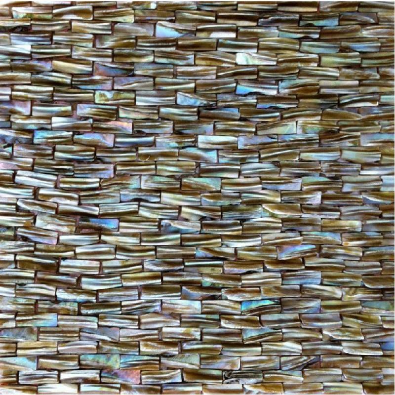 Brown Subway Tile Kitchen Backsplash: Pearl Tile Backsplash In Kitchen Brown Mother Of Shell