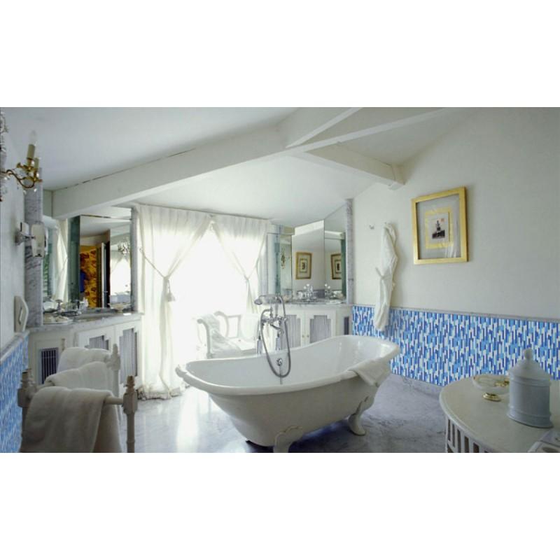 Mosaic Tile Bathroom Shower: Crystal Glass Mosaics Blue Shower Tile Mosaic Kitchen