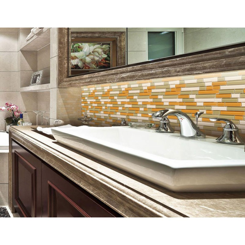 Merveilleux Glass Mosaic Tile Backsplash Kitchen Interlocking Glossy Crystal Glass Tiles  Shower G4003 Bathroom Floor Mirror Wall Stickers
