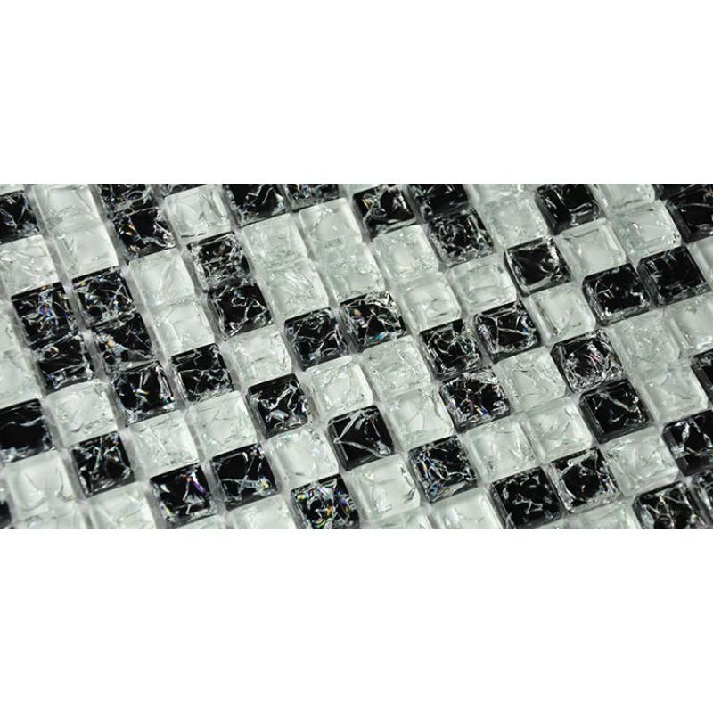 Ice Crack Glass Tiles For Kitchen Backsplash Black White Mix Random Crystal Mosaic Tile Design Discount