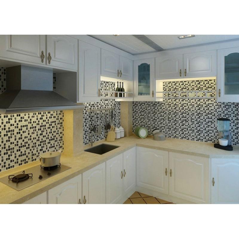 Crack Glass Tiles for Kitchen Backsplash black & white mix random ...