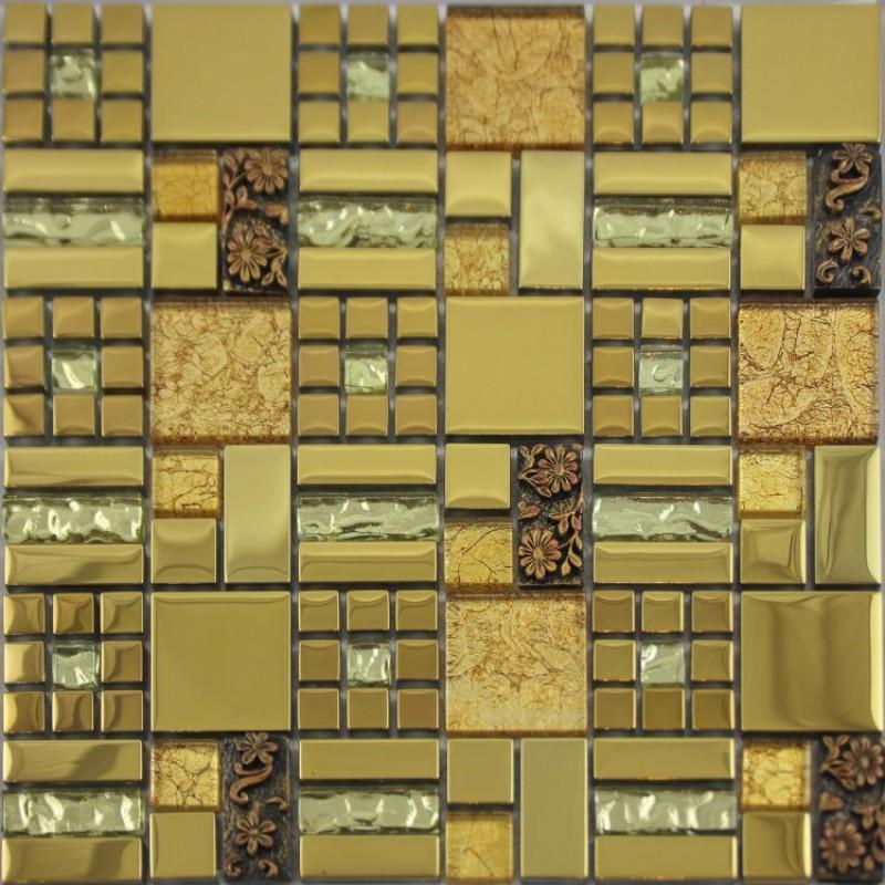 Gold Crystal Gl Mosaic Tile Le Wall Plated Metal Kitchen Backsplash Floor Sticker Design