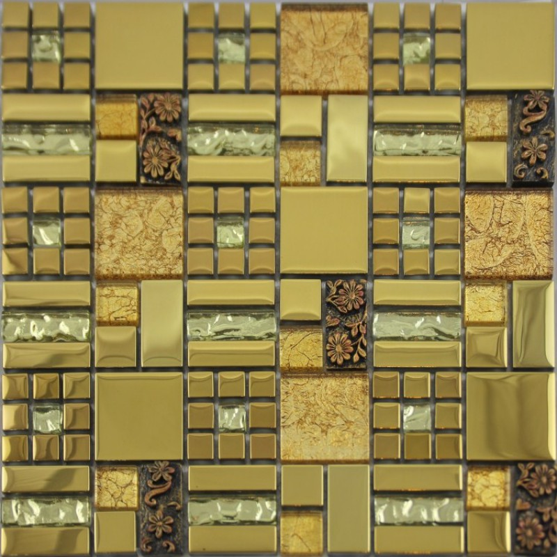 Crystal Glass Mosaic Crack Art Wall Plated Kitchen Backsplash Tile ...