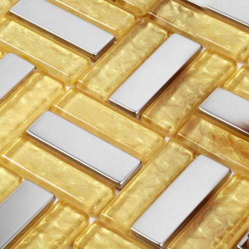 Luxury Golden Crystal Glass Linear Strip Tiles Mosaic Deco Mesh Silver Stainless Steel Backsplash Metallic Mosaic Tile GH106
