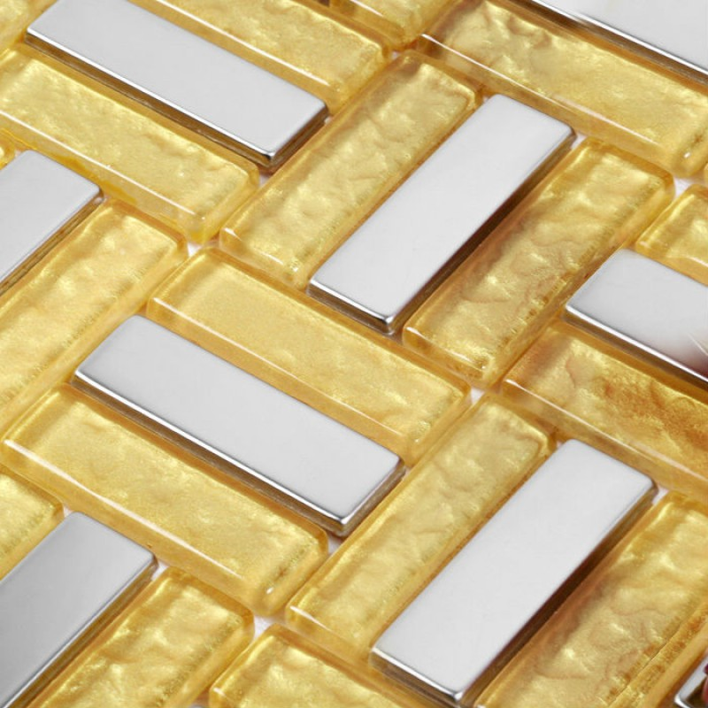 Luxury golden crystal glass linear strip tiles mosaic deco for Installing glass tile with mesh back
