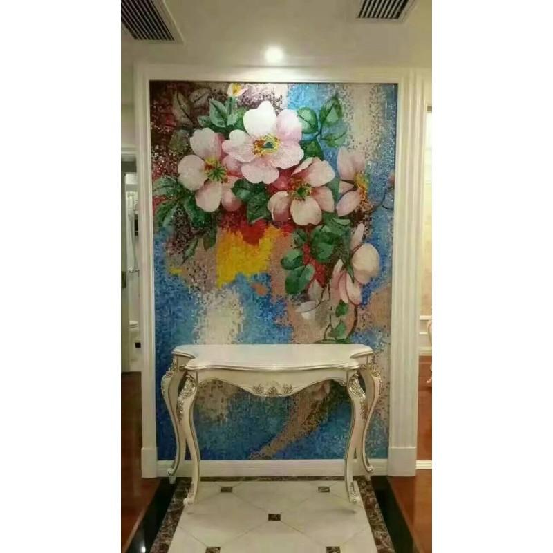 Flower Tile Glass Mosaic Tile Wall Murals Tiles Plated Crystal Patterns Backsplash NEW Designs