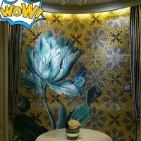 hand made flower tile glass mosaic tile wall murals tiles plated crystal patterns backsplash puzzle tiles GRST004