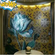 hand made flower tile glass mosaic tile wall murals tiles plated crystal patterns backsplash puzzle tiles GRST004