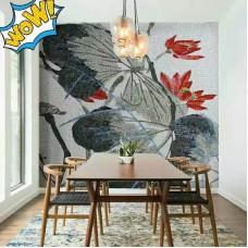 hand made flower tile glass mosaic tile wall murals tiles plated crystal patterns backsplash puzzle tiles GRST005