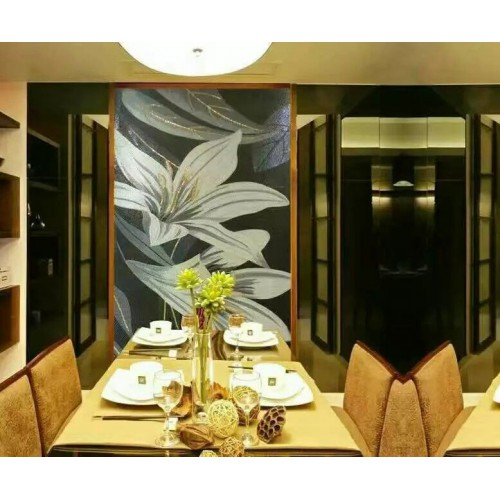 hand made flower tile crystal glass mosaic tile wall murals tiles crystal patterns backsplash puzzle tiles GRST006