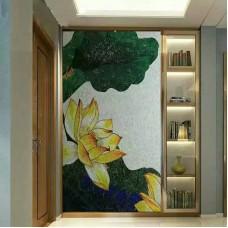 hand made flower tile crystal glass mosaic tile wall murals tiles crystal patterns backsplash puzzle tiles GRST007