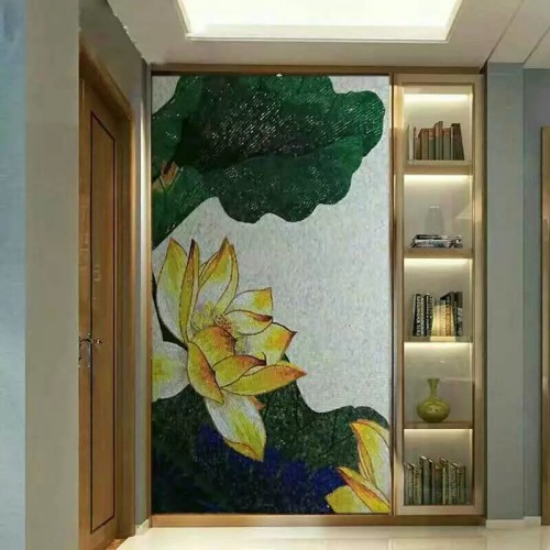 hand made flower tile crystal glass mosaic tile wall murals tiles crystal patterns backsplash puzzle tiles GRST007