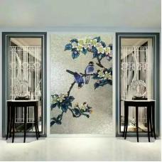 backsplash puzzle tiles hand made flower tile crystal glass mosaic tile wall murals tiles crystal patterns GRST013