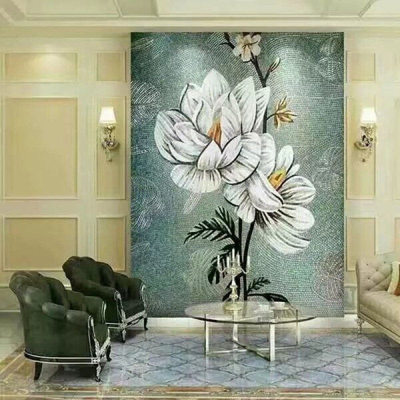 murals puzzle tiles hand made flower tile crystal glass mosaic tile wall