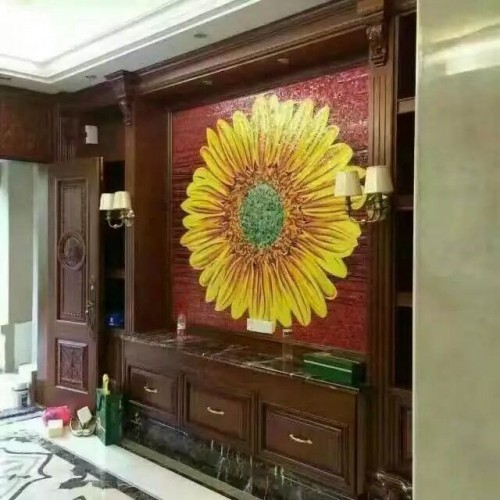 backsplash puzzle tiles hand made flower tile crystal glass mosaic tile wall murals tiles crystal patterns GRST019