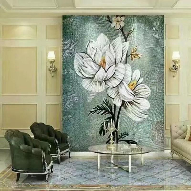 Backsplash Puzzle Tiles Hand Made White Flower Tile Crystal Gl Mosaic Wall Murals