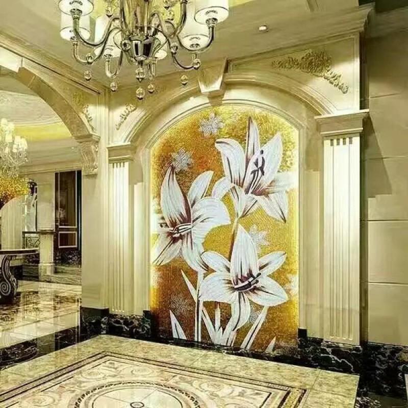 Backsplash Puzzle Tiles Hand Made White Flower Tile Crystal Gl Mosaic Wall Murals Patterns Grst026