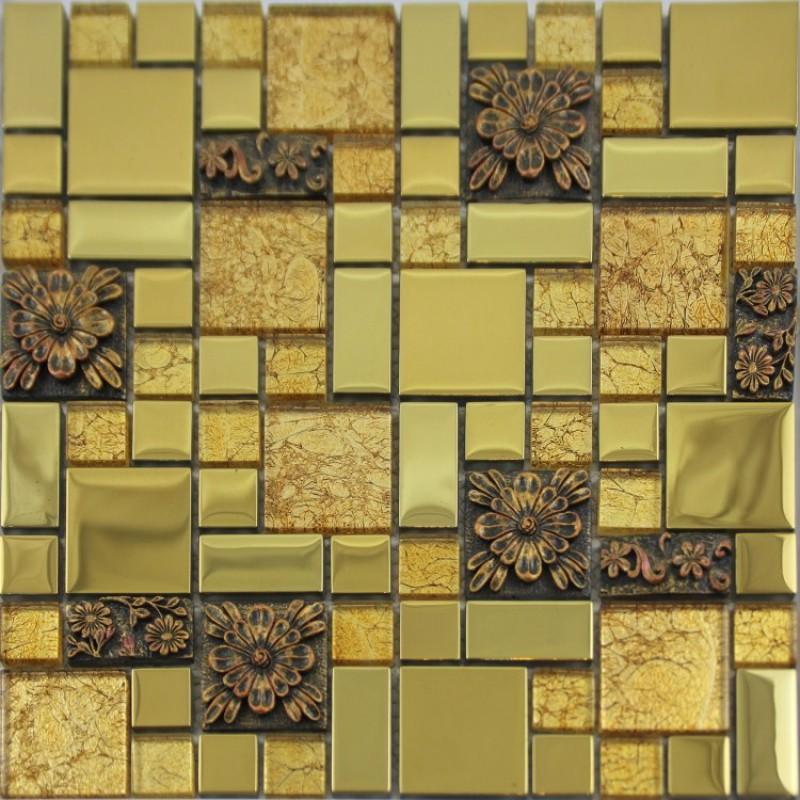 Crystal Glass Mosaic Tile Plated Metal Coating Tiles Kitchen Backsplash  Glass Tile TV background Bathroom Wall Tiles GJGJ003