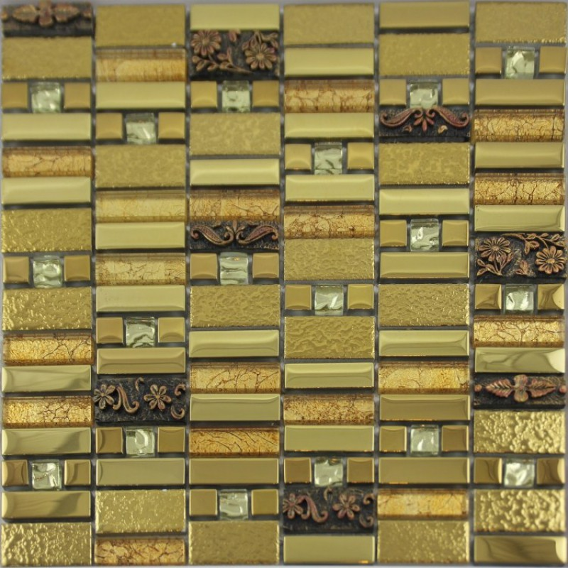 Gold Crystal Glass Mosaic Tile Diamond Art Wall Plated Metal Tile