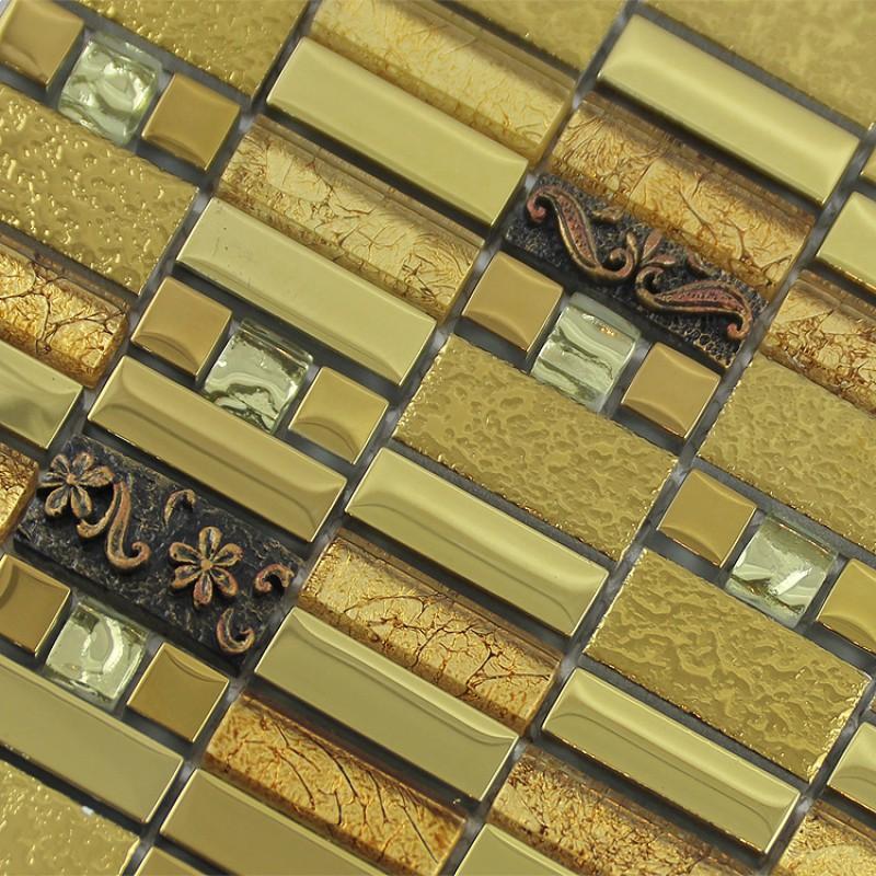 Metal Wall Tiles gold crystal glass mosaic tile diamond art wall plated metal tile
