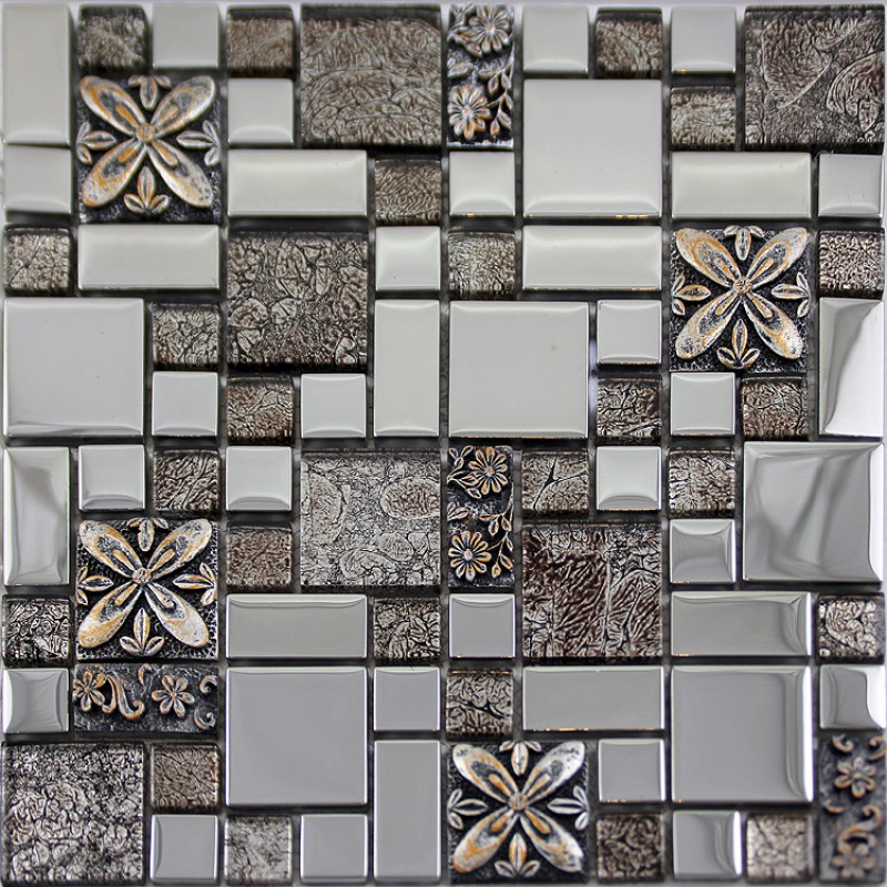 Wall Mosaic Designs : Silver glass tile mosaic shower wall designs plated craftsman brown ...