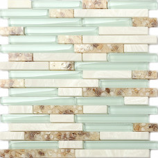 Sea Green Glass Tiles Beach House Style Backsplash White Stone and Resin Conch Tile Bathroom Wall Decor