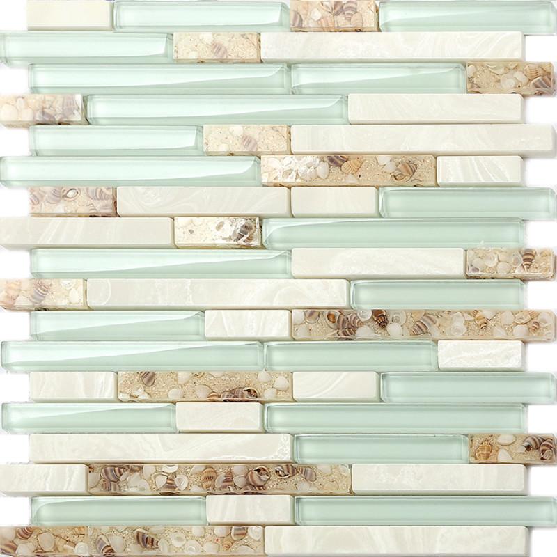 Sea Green Glass Tiles Beach House Style, Sea Glass Mosaic Tile Bathroom
