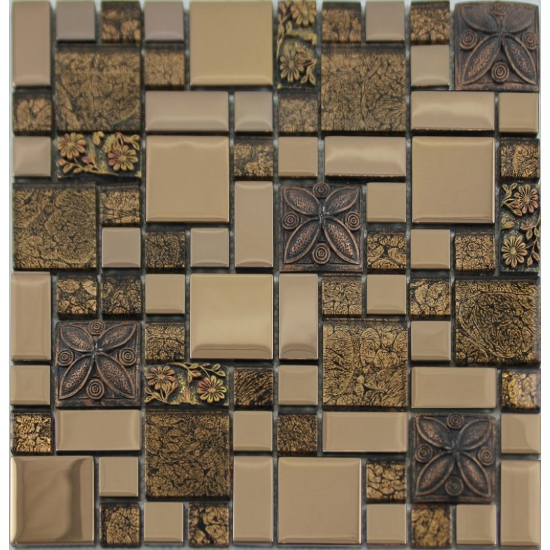 Glass Mosaic Crack Art Wall Plated Kitchen Backsplash Tile Cheap ...
