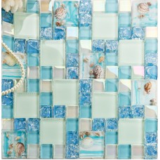 Cracked Blue Glass Mosaic Mediterranean Style Resin with Conch Shell Beach Inspired Backsplash Iridescent White Tile