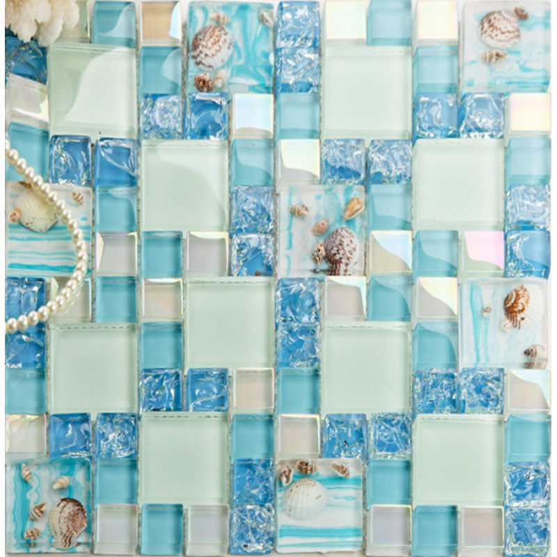 Cracked Blue Glass Mosaic Mediterranean Style Resin With Conch