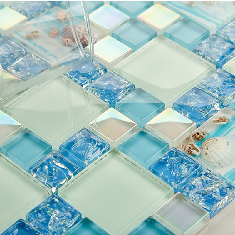 Blue Glass Mosaic Tile Backsplash Crackle Crystal Glass Resin Conch Tiles