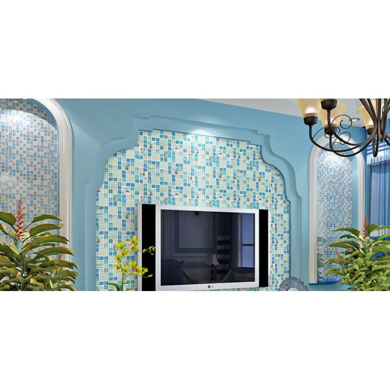 blue glass mosaic tile backsplash crackle crystal glass resin conch tiles for kitchen and bathroom shower
