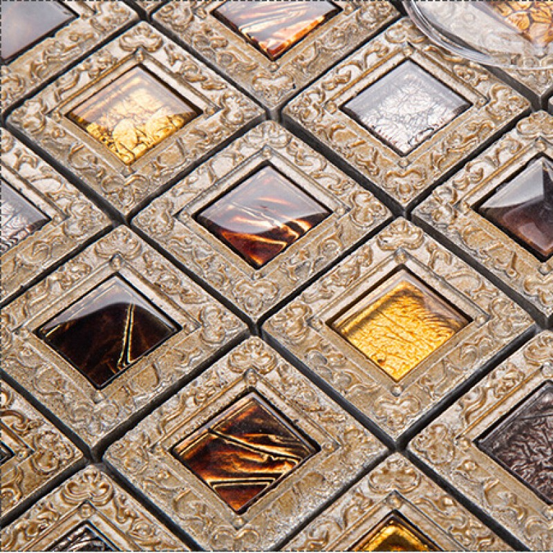 Crystal Glass Tiles For Kitchen And Bathroom Brown Mosaic