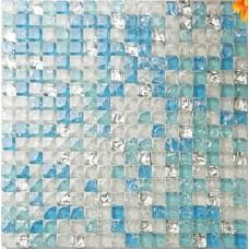 Sea blue tile backsplash crystal glass mosaic crackle patterns shower wall tile design glossy tiles backsplash for kitchen and bathroom KLHJ02