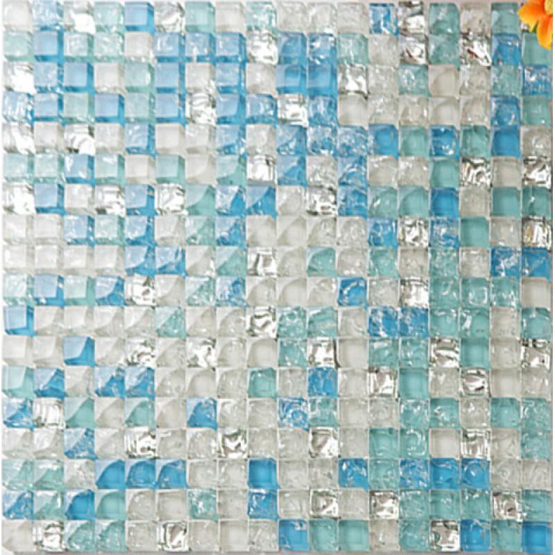 Sea Blue Tile Backsplash Crystal Glass Mosaic Crackle Patterns Shower Wall Tile Design Glossy