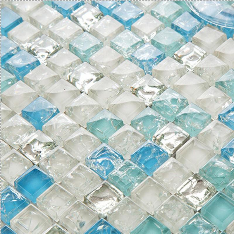 Sea blue tile backsplash crystal glass mosaic crackle patterns shower wall tile design glossy for Sea glass mosaic tile bathroom