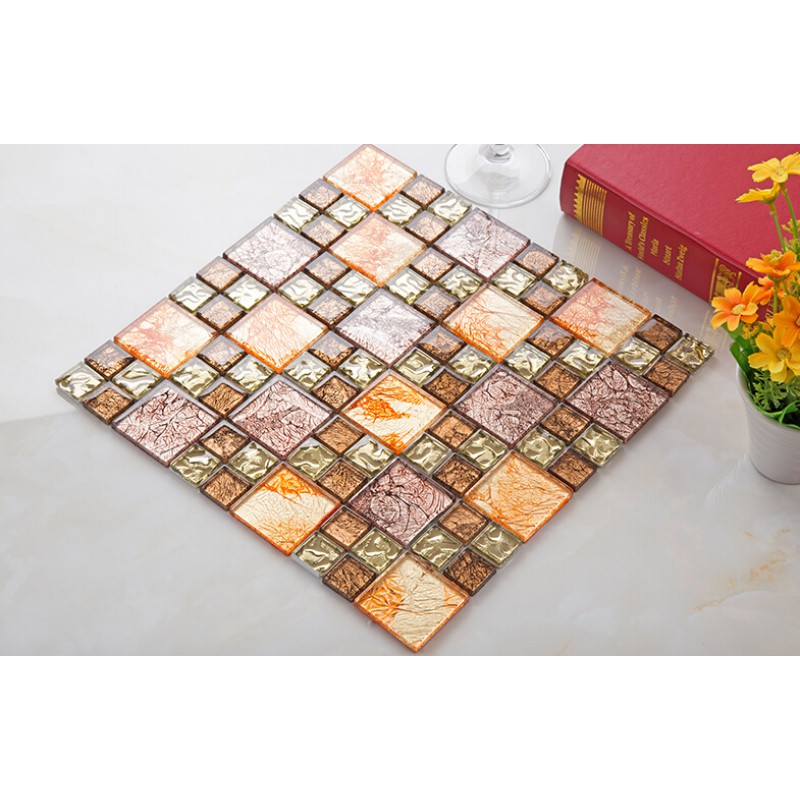Yellow Glass Mosaic Tile Plated Glass Hand Painted Art Design Wall Tile Hall Backsplashes