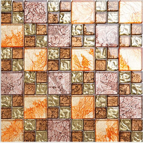 Hall Bathroom Tiles: Yellow Glass Mosaic Tile Plated Glass Hand Painted Art