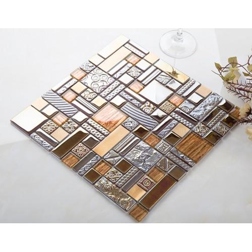 crystal glass mosaic tile stainless stell tiles wall backsplashes bathroom tile deco KLJH401