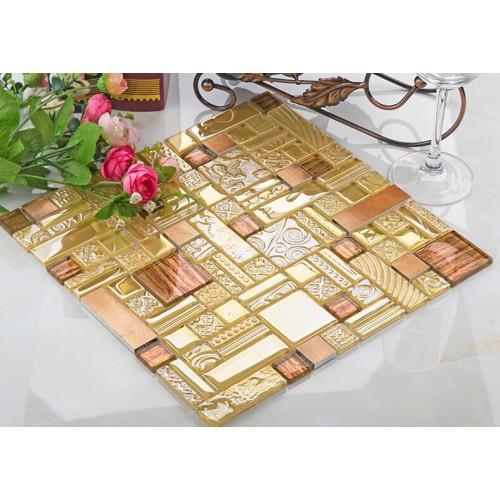 crystal glass mosaic tile stainless stell tiles wall backsplashes bathroom tile deco KLGT402