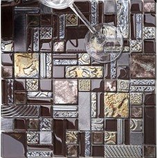 brown mosaic tile crystal glass tile 304 stainless steel tile metal tiles wall backsplashes pattern tiles kitchen dinner room wall decorative  KLGTH03