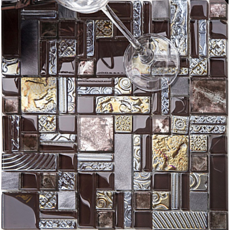 Brown Mosaic Tile Crystal Gl 304 Stainless Steel Metal Tiles Wall Backsplashes Pattern