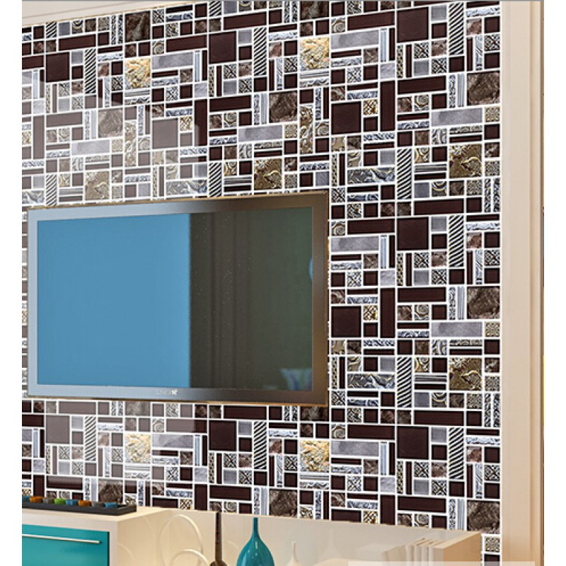 Sample Stainless Steel Metal Pattern Mosaic Tile Kitchen: Brown Mosaic Tile Crystal Glass Tile 304 Stainless Steel