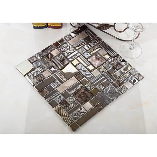 crystal glass mosaic tile stainless stell tiles wall backsplashes bathroom tile deco KLGT404