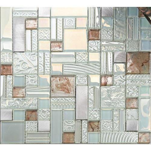 Deluxe glass metal mosaic sheets brushed aluminum backsplash blue and silver decorative crystal glass tile for kitchen and bathroom MGJH05